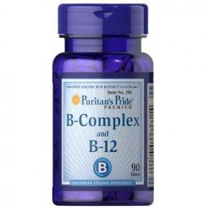Витамин В-комплекс  , Vitamin B-Complex And Vitamin B-12 - 90 tab , Puritans Pride (США )