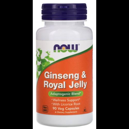 Корень женьшеня и Пчелиное маточное молочко , Ginseng & Royal Jelly 300/300 mg - 90 caps , NOW Foods (США )