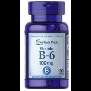 Витамин В-6 , Vitamin B-6 100 mg - 100 tab , Puritans Pride (США )